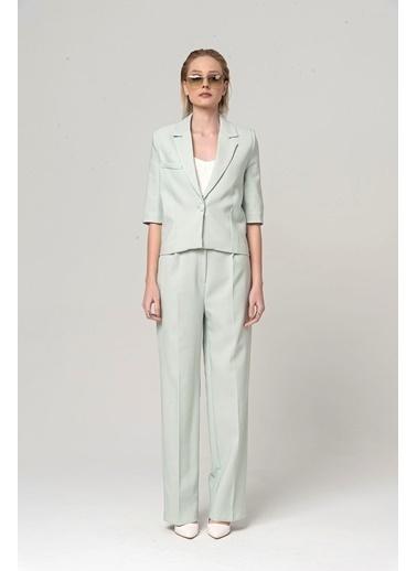 Coral Kısa Ceket Pantolon Takım Mint Yeşili Yeşil